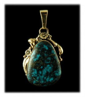 Silver and Gold Turquoise  Pendant