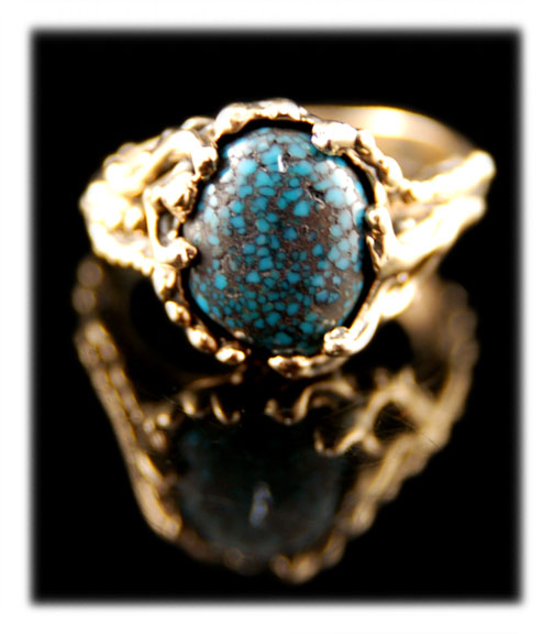 14k yellow gold and Lander Blue Turquoise ring