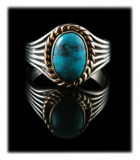 Oval shaped Silver, Gold and Turquoise Ring