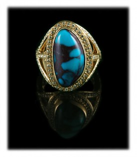 Gold Bisbee Turquoise Ring with Diamonds