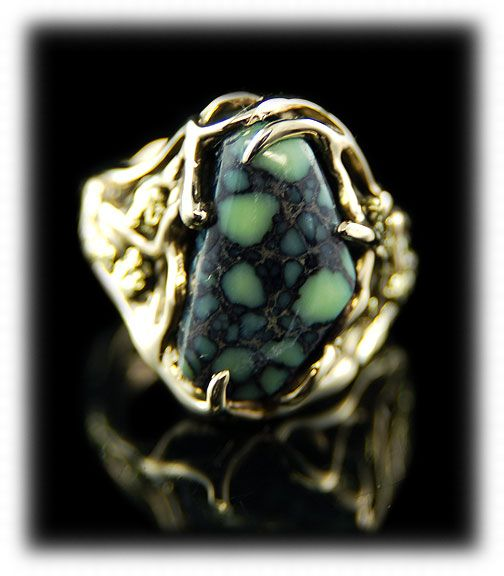 Top gem grade Tortoise Spiderweb Turquoise in 14k gold