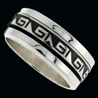 Mens Silver Band with Greek Key Design