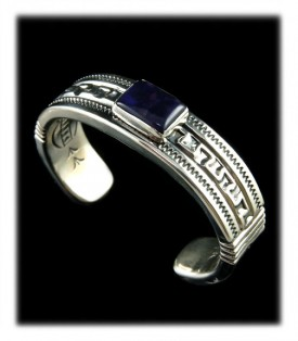 Navajo Stamped Silver Bracelet with Sugilite