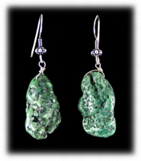 Chunky Green Nugget Turquoise Earrings