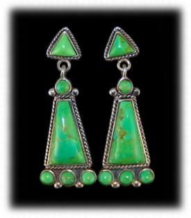 Green Turquoise Inlay Earrings Lime Dangle