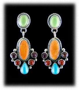 Turquoise Earrings with Gemstones and Green Turquoise