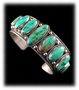 Green Navajo Silver Jewelry - Green Turquoise Bracelet