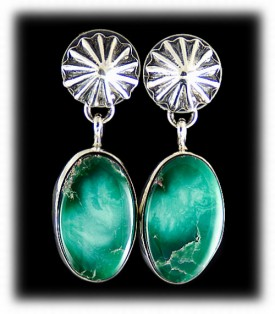 Green Navajo Turquoise Earrings