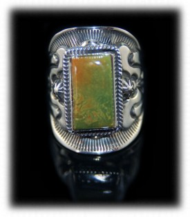 Navajo Turquoise Ring Band with Nevada Green Turquoise
