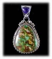 Green Royston Turquoise Pendant with Sugilite