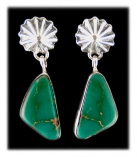 Nevada Green Turquoise in Silver Earrings