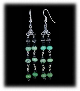 Green Turquoise Beaded Dangle Earrings