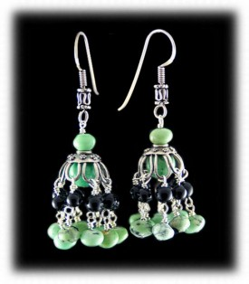 Green Turquoise Bead Chandelier Earrings