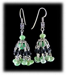 Green Turquoise Bead Chandelier Earrings