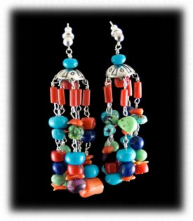 Chandelier Style Multi Stone Lime Turquoise Nugget Dangle Earrings
