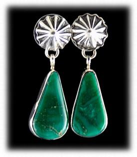 Turquoise Dangle Earrings - Green Turquoise Earrings