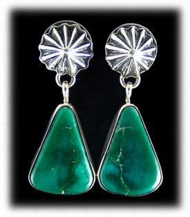 Green Turquoise Earrings - Navajo Indian Silver Jewelry