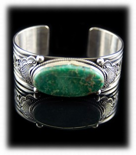 Green Turquoise Bracelet - Navajo Indian Silver Jewelry