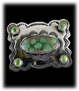 Mens Turquoise Belt Buckle, Green Turquoise Mens Buckle