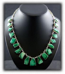 Broken Arrow Turquoise Necklace - Bezel Set Stones