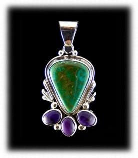 Sugilite and Manassa Green Turquoise Pendant