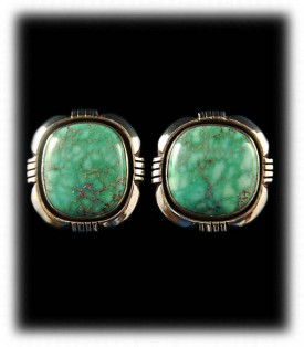 Green Turquoise Earrings - Silver Post Earrings