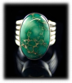 Durango Colorado Artisan Handmade Sterling Silver and Turquoise Ring  with Broken Arrow Variscite from Mina, Nevada