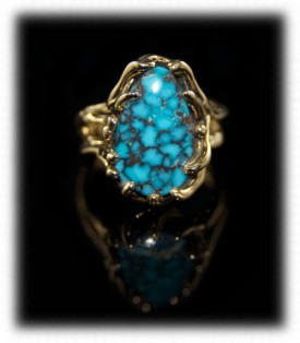 Handmade Gold Mens Ring with Blue Wind Turquoise
