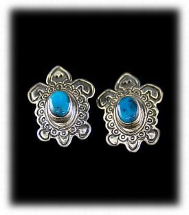 Handmade Stamped Silver Jewelry - Silver Turtle Earrings