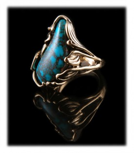 Handmade Turquoise and Gold Jewelry with rare Bisbee Turquoise