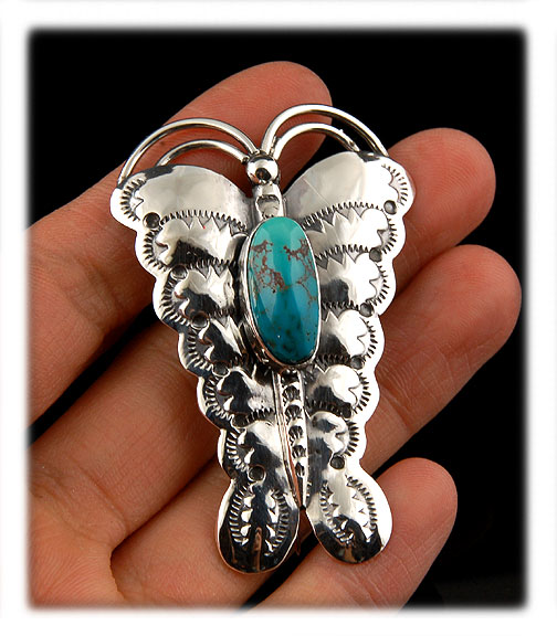 Butterfly pin with high Grade Villa Grove Turquoise from Colorado, USA