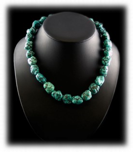 Mens Tibetan Turquoise Bead Necklace