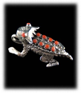 Horny Toad Silver Pendant - Native American Handmade