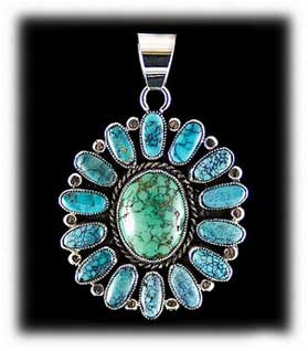 Cluster Indian Turquoise Jewelry with Spider Web Turquoise