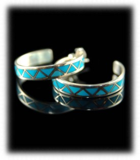 Zuni Indian Silver Jewelry - Inlay Turquoise Earrings