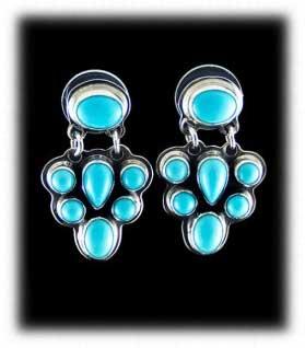 indian turquoise earrings with Sleeping Beauty Turquoise