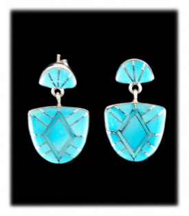 American Indian Inlaid Turquoise Earrings