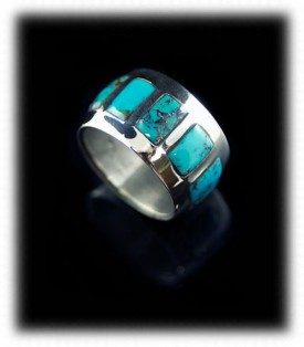 American Jewelry Artisan Handmade Inlaid Turquoise Ring with Black Onyx and Red Coral