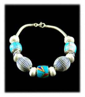 Blue Turquoise and Silver Bead Bracelet - Inlaid Turquoise