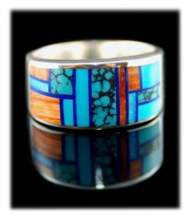 Native American Handmade Inlaid Blue Turquoise Ring