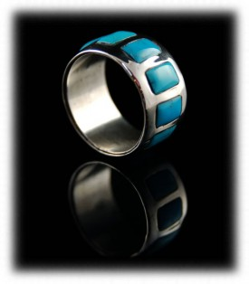 Inlaid Turquoise Mens Band Rings by Dillon Hartman