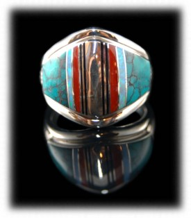 Zuni Indian Silver Band - Gemstone Inlaid