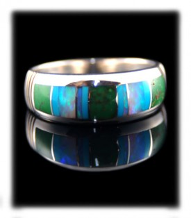 Navajo Inlaid Silver Ring Bands