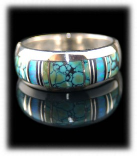 Gemstone Inlaid Silver Rings and Bands