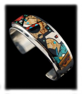 Silver and Turquoise Inlaid Bracelets