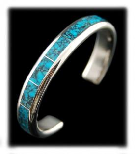 Inlaid Spiderweb Turquoise Bracelet