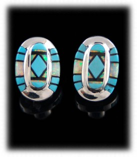 Zuni Inlaid Turquoise Stud Earrings