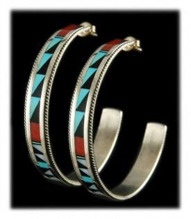 Zuni Inlay Hoop Earrings
