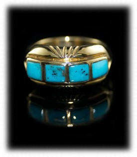 Gold Mens Turquoise Inlay Ring