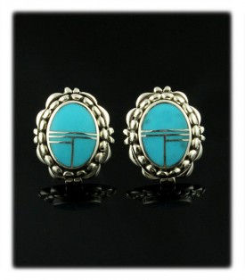 Blue Turquoise Inlay Stud Earrings